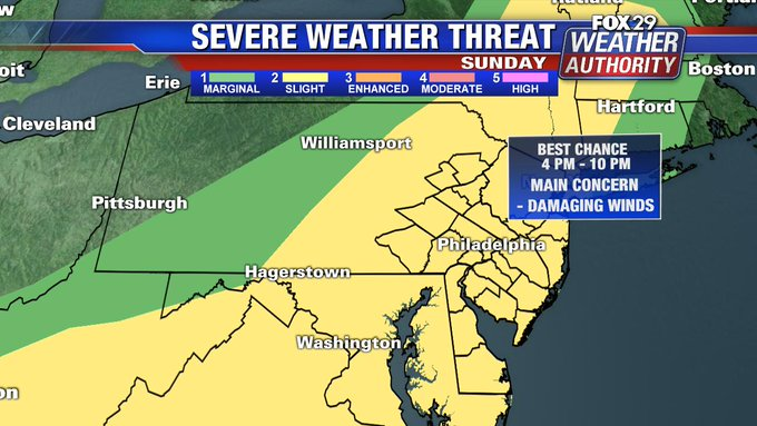 Severe Thunderstorm Watch issued for Delaware Valley Sunday