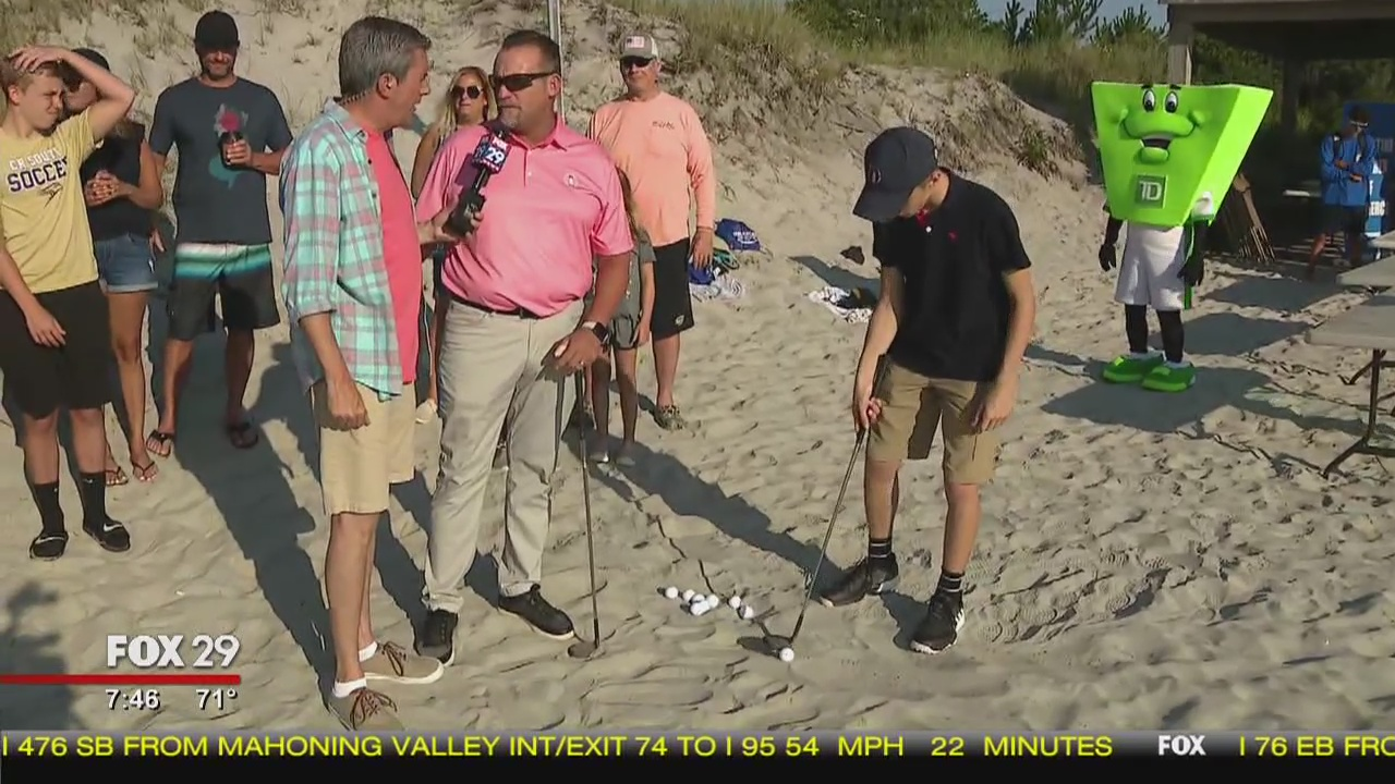 Town Takeover: Bob works on his golf swing in Brigantine