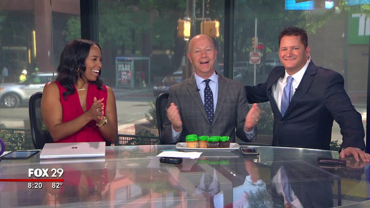 Good Day Philadelphia Weekend Celebrates Dan Roccato's birthday with Cashin' In Cupcakes!