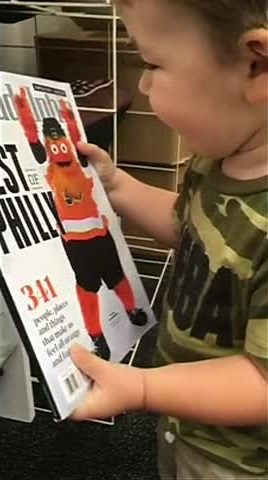 G is for Gritty: Toddler mistakes Flyers' mascot for Cookie Monster